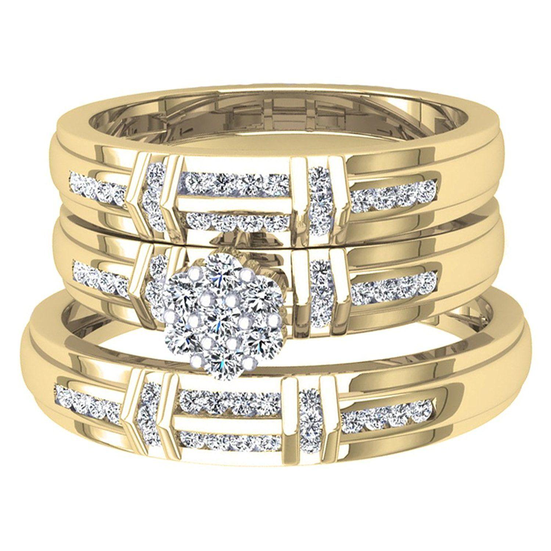0.50 Carat (ctw) 10K Gold Round White Diamond Men And