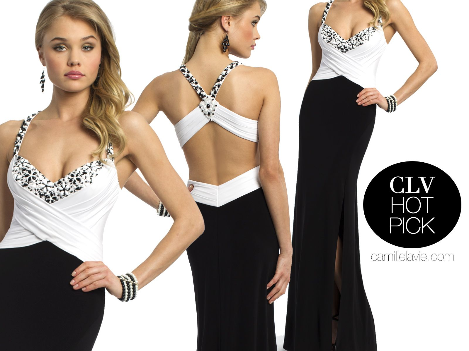 Camille La Vie black and white jersey prom dress