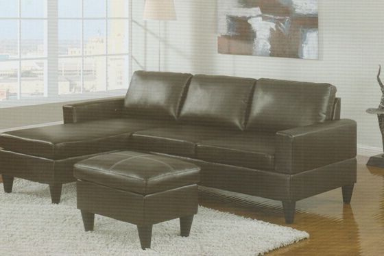 3 pc Espresso Faux leather apartment size sectional sofa with