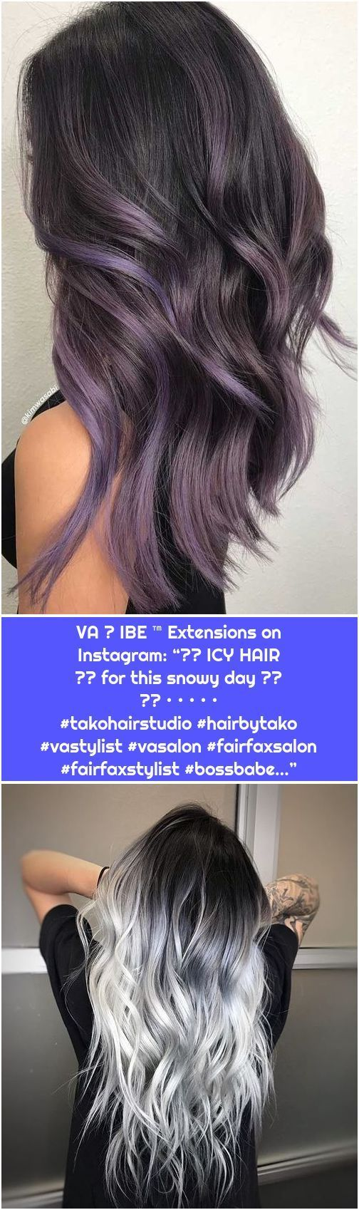 """1. Trendy Winter Hair Color Ideas VA ☆ IBE ™ Extensions on Instagram: """"❄️ ICY HAIR ❄️ for this snowy day ⛄️ ❄️ • • • • • #takohairstudio #hairbytako #vastylist #vasalon #blue and purple hair underlights #day #Extensions #Hair #IBE #ICY #Instagram #snowy"""