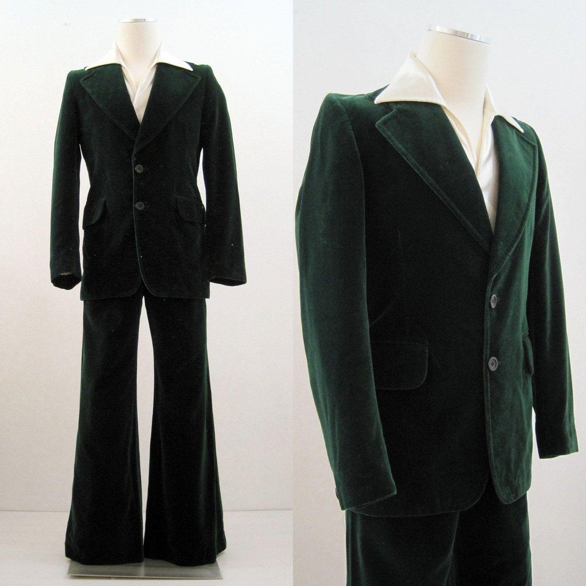 ec576b4cbb83 70s 80s Suit Vintage Men's Green Velvet Jacket & Wide Leg Pants Holiday S.