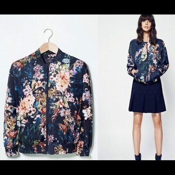 029be868c Mango floral print bomber jacket Mango floral print bomber jacket in ...