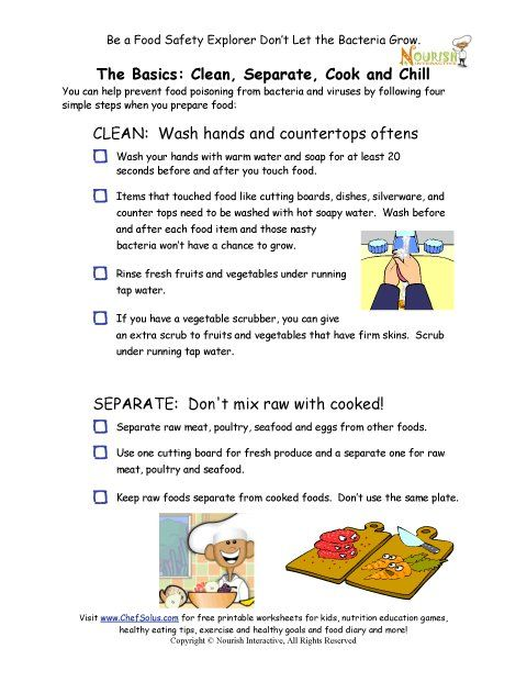 Worksheets Food Safety Worksheets chef solus food safety rules checklist and other nutition healthy cooking starts with teach children families the basics for a fun