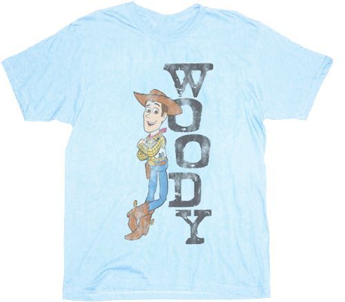 Toy Story Woody Distressed Sheriff Powder Blue Adult T-shirt