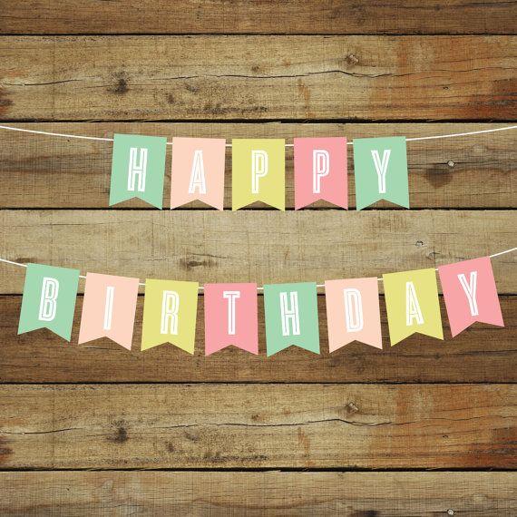 Printable Birthday Banner Happy Birthday by saralukecreative #bday #birthday #banner #etsy #birthdayideas