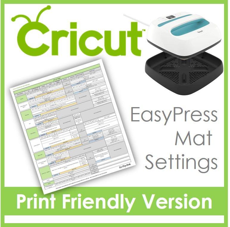 Cricut Easy Press Mat Settings Print Friendly Version Cricut Machine Crafters I Created A Print Fr Cricut Heat Transfer Vinyl Cricut Cricut Projects Vinyl