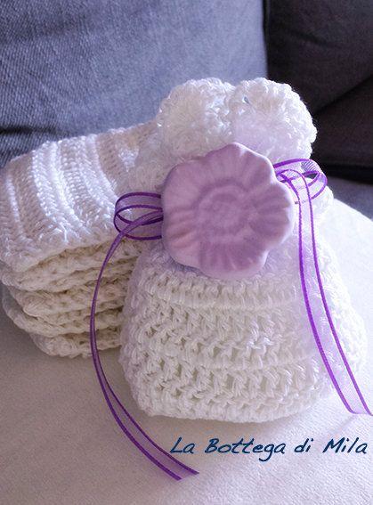 Matrimonio In Lilla : Bomboniera sacchettino cotone uncinetto con gessetto profumato in