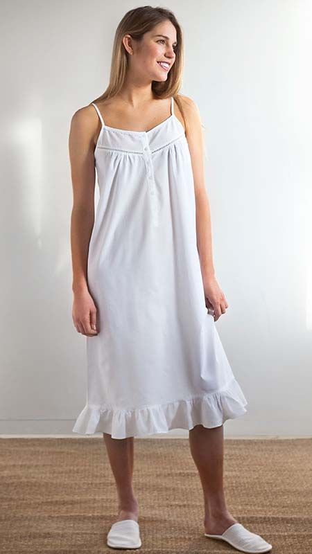 Carly - Ladies  Cotton Nightgown White Spaghetti Lace Strap bfccee747