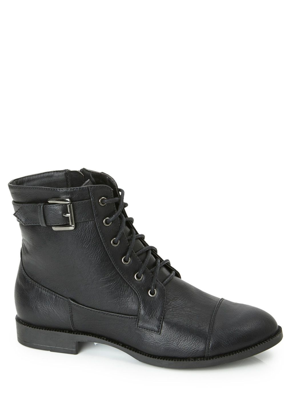 black flat lace up boots | Gommap Blog
