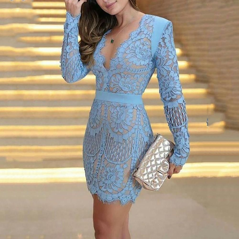 Long-Sleeved Lace Cutout Dress -   16 dress Lace bodycon ideas