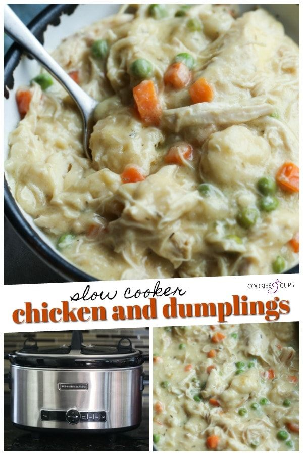 Easy Slow Cooker Chicken and Dumplings #chickendumplingscrockpot