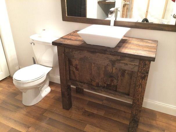 rustic bathroom vanity with vessel sink. Rustic Farmhouse Bathroom Vanity with Vessels Sink and Free Fall Faucet