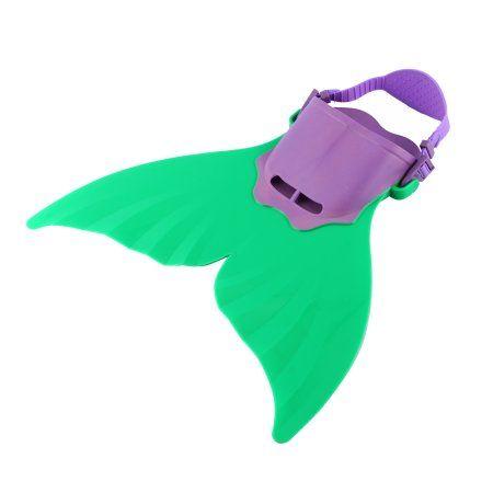 Mermaid Monofin Mono Fin Flippers Swimming Costume Dress Mermaid Tail Swimsuit(Green) Image 3 of 3