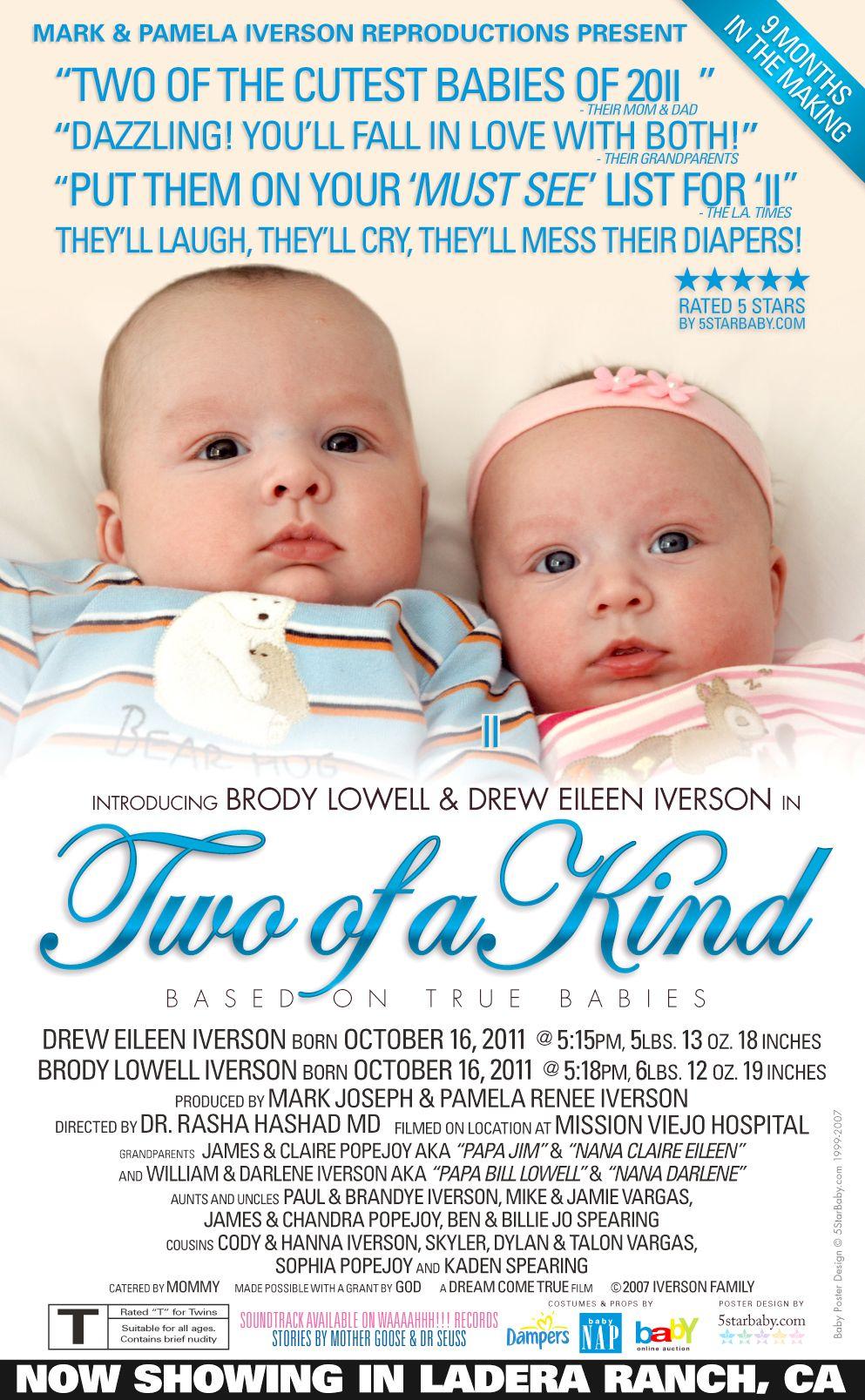 custom baby twins birth announcement   birth announcements  newborn  baby  twins baby birth