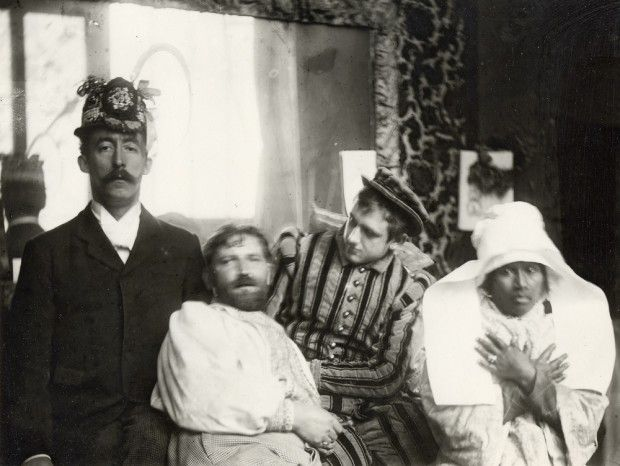 Alfonse Mucha with his friends in the studio, c.1893-1894. L-R: Paul Gauguin, Mucha, Luděk Marold and Gauguin's mistress 'Anna the Javanaise'  …
