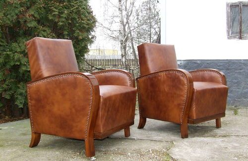 Phenomenal Art Deco Leather Armchairs Pair Free Delivery Uk Club Alphanode Cool Chair Designs And Ideas Alphanodeonline