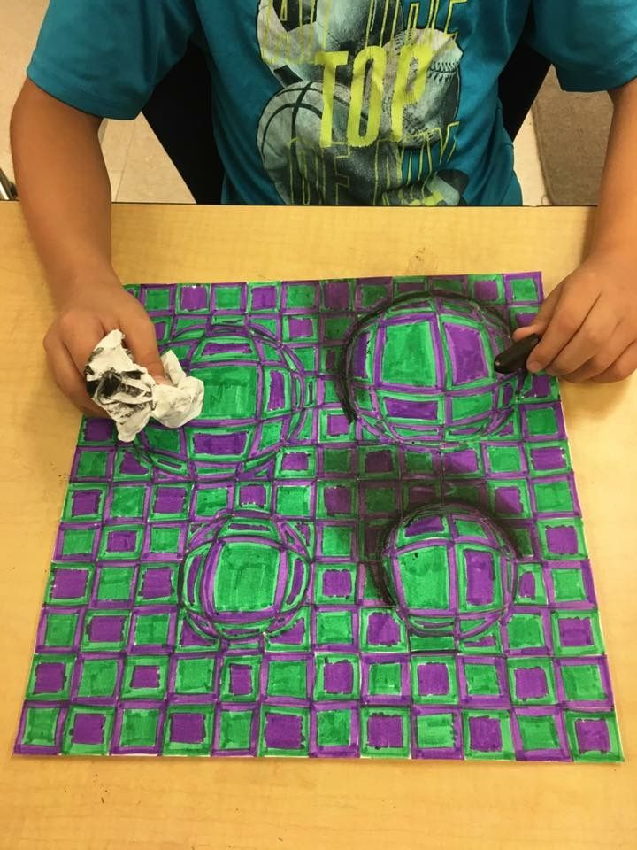 Holly Briggs with her 5th grade optical illusions! | ART