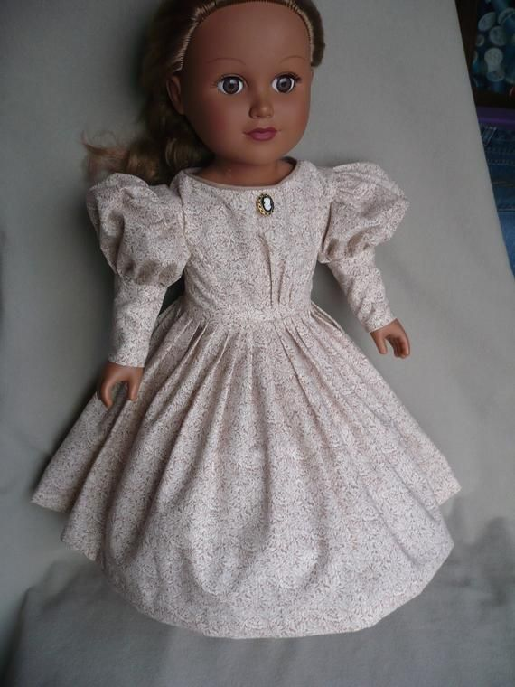 1880s Victorian day dress for 18 American girl doll with lamb chop sleeves, hand tailored pleats,made of cotton time era fabric #dollvictoriandressstyles