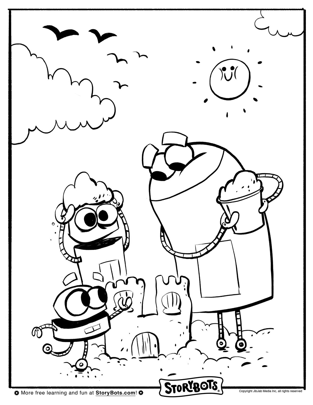 Storybots Sandcastle Coloring Sheet