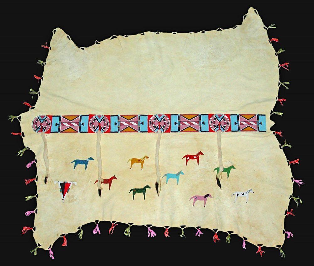 Rare Crow Style Indian Elk Robe Beaded Wedding W Blanket Strip