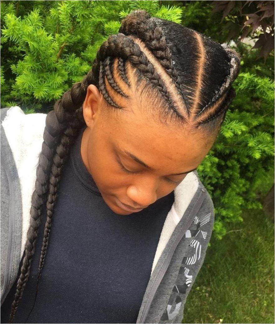 Symmetrical hairstyle with ghana braids braidhairstyles