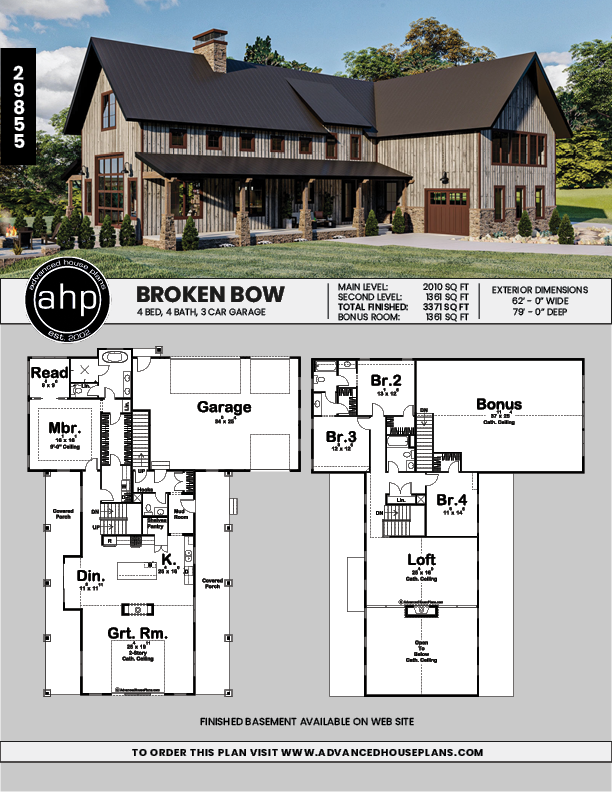 1 5 Story Modern Mountain House Plan Broken Bow In 2020 Barn House Plans Pole Barn House Plans Garage House Plans