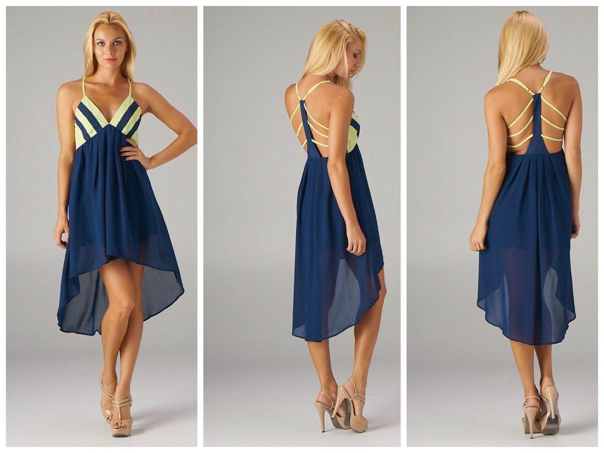 2bd13c75f5 Sabrina Navy Yellow High Low Dress