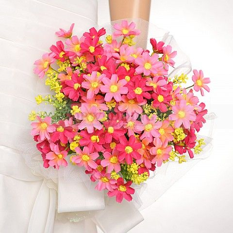 Tüll gehüllt Rote und rosa Kleine Blume Hochzeit Brautstrauß