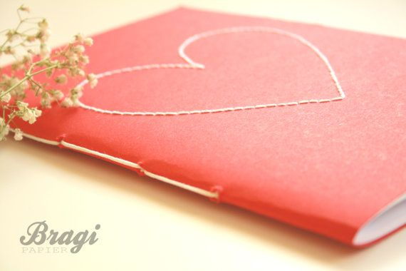 Love Notebook  * Stitched Heart * Red Cover with White Heart Stitched *  Love Journal * Wedding Planner * Valentine Notebook