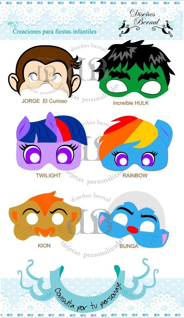 Máscaras para todos los personajes | Imprimibles: Decoración de ...