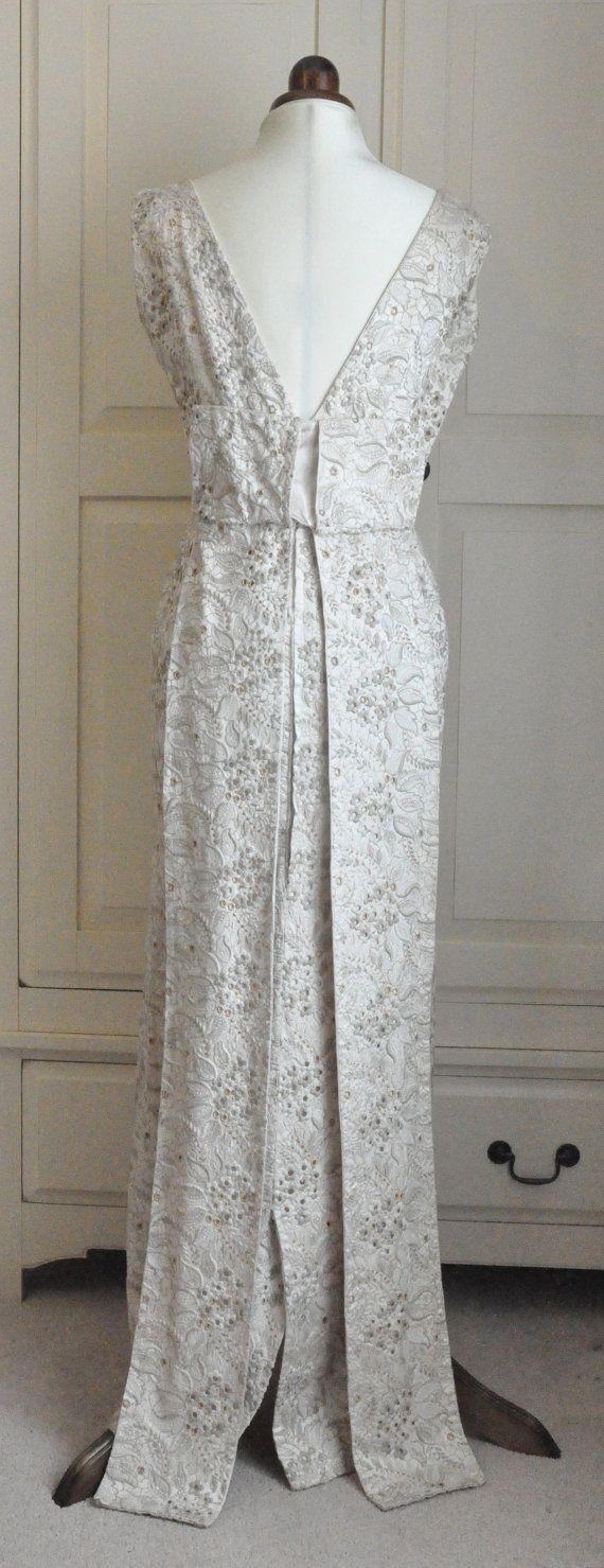 S floor length evening dress cream by vintagesallyboutique