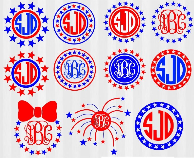 4th Of July Svg 4th Of July Monogram Svg Monogram Frames For July 4th Monogram Frame Cricut Monogram Silhouette Monogram