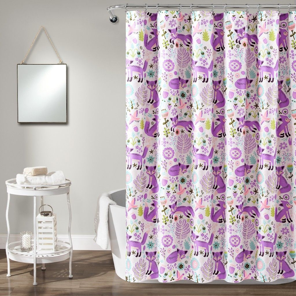 Pixie Fox Shower Curtain Purple Pink Single 72x72 Lush Decor