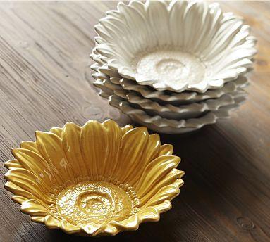Sunflower Bowl Set Of 4 Potterybarn Kitchen Decor Pottery
