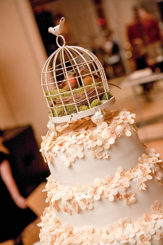 Vintage Fall Wedding Bird Cage Cake Topper