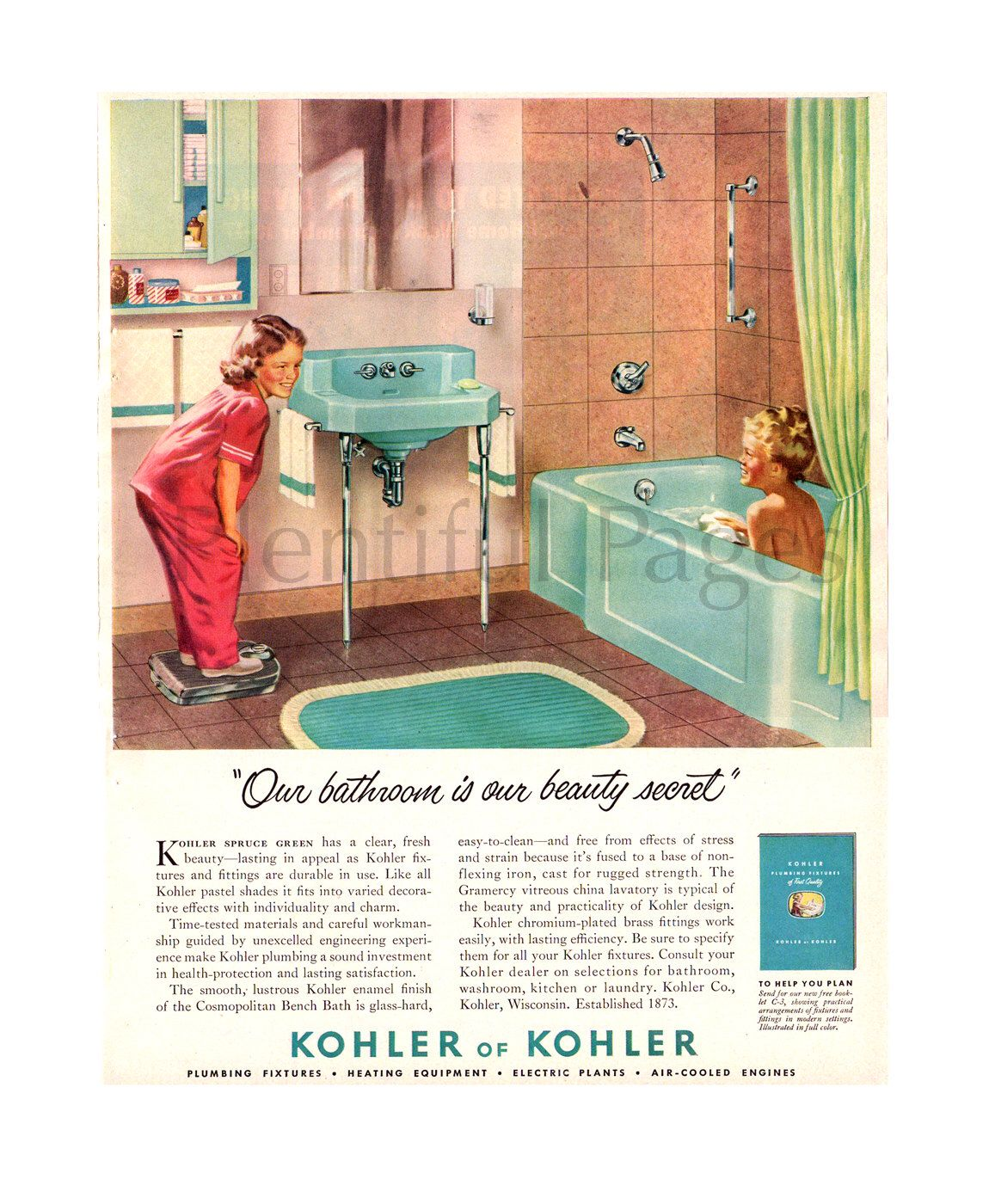 1950 Kohler Bathroom Vintage Ad 1950 S Bathroom Retro Bathroom  # Muebles Sanitarios Kohler