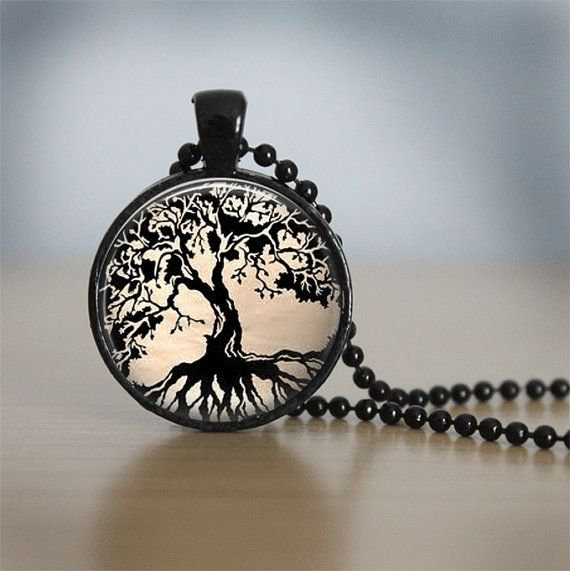 Glass Tile Necklace Tree Necklace Tree of Life Glass Tile Jewelry Tree Jewelry Black Necklace Glass Tile Pendant Black Jewelry 36.44₪