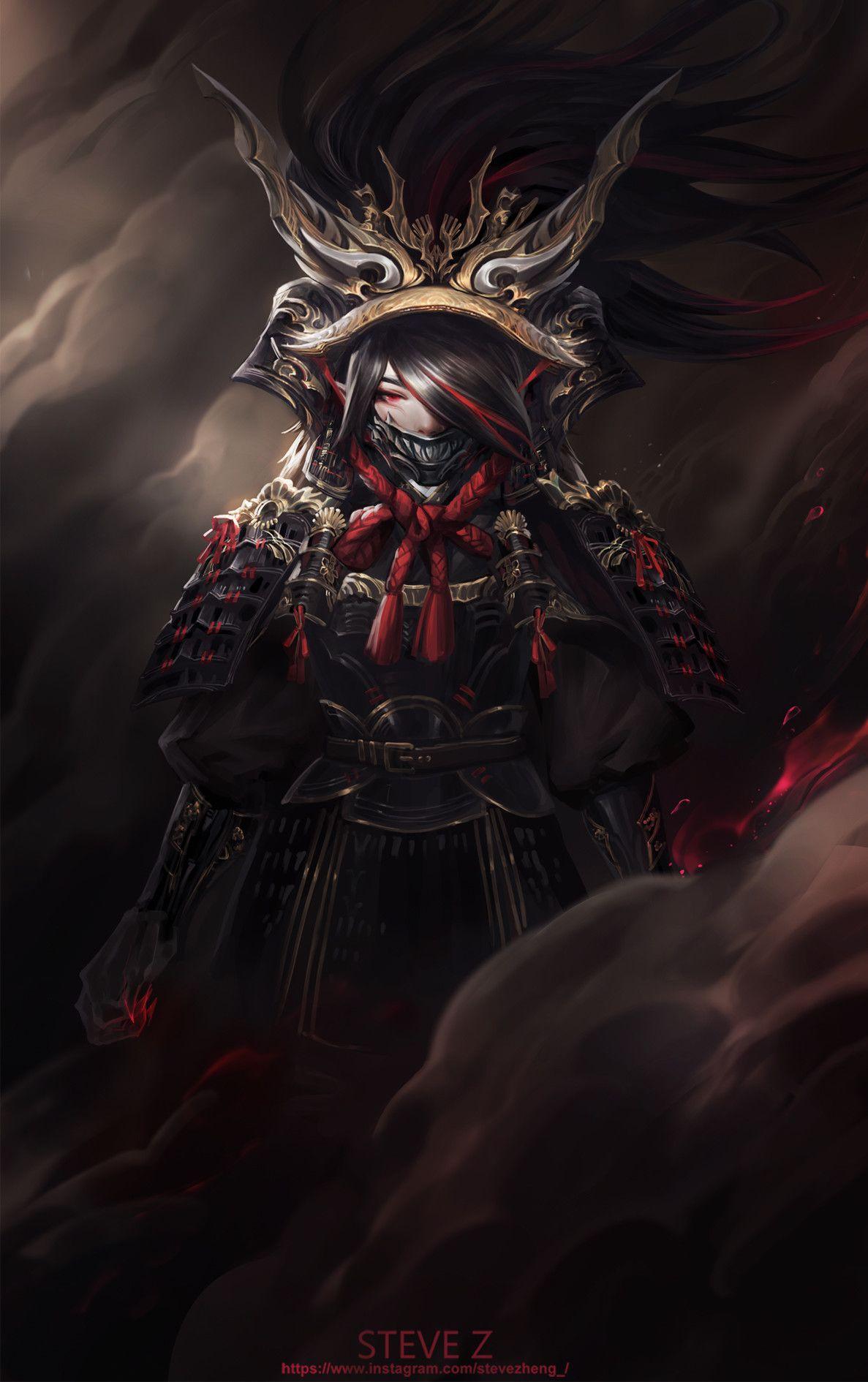 Artstation red ogre steve zheng samurai art ogre