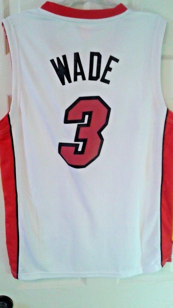 Adidas NBA Jersey Miami Heat Dwayne Wade White Nickname Size M  adidas   MiamiHeat 2ff1b483d