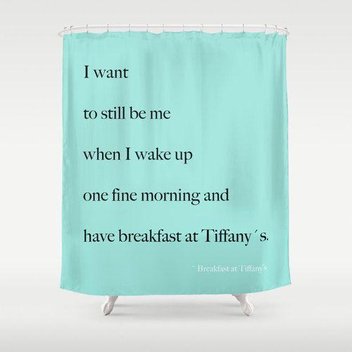 Shower Curtain Breakfast At Tiffany S Quotes Aqua Blue Typography Room Decor Glamour