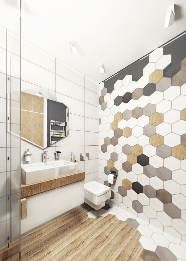 carrelage hexagonal pour mur de salle de bain avec parquet. Black Bedroom Furniture Sets. Home Design Ideas