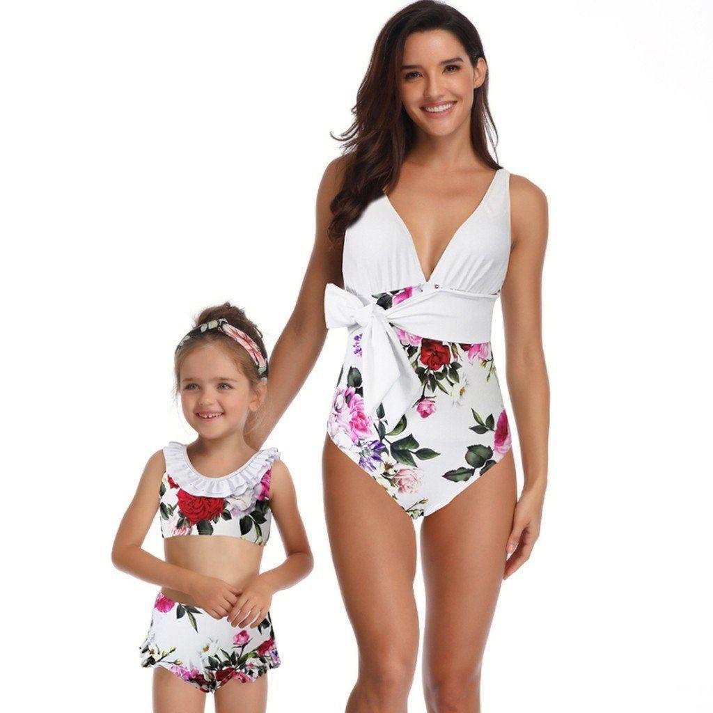 Family Matching Swimwear Mother Daughter Women Kids One-piece Bikini Beachsuit