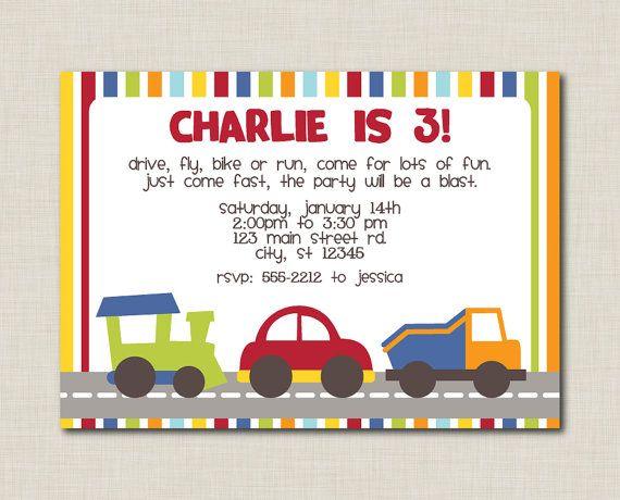 Printable Transportation Birthday Party Invitation By Doodleprints 800