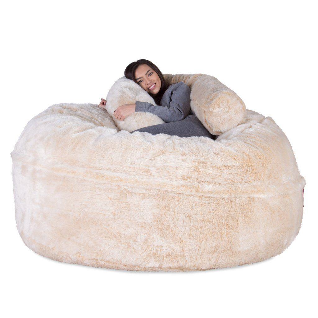 Cloudsac Our Original 1000 L Xxl Memory Foam Bean Bag Sofa Fluffy Faux Fur White Fox