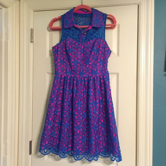 Lilly Pulitzer Dress Beautiful hot pink/blue dress. Brand new no tags.  Tried on but never worn. Lilly Pulitzer Dresses Midi
