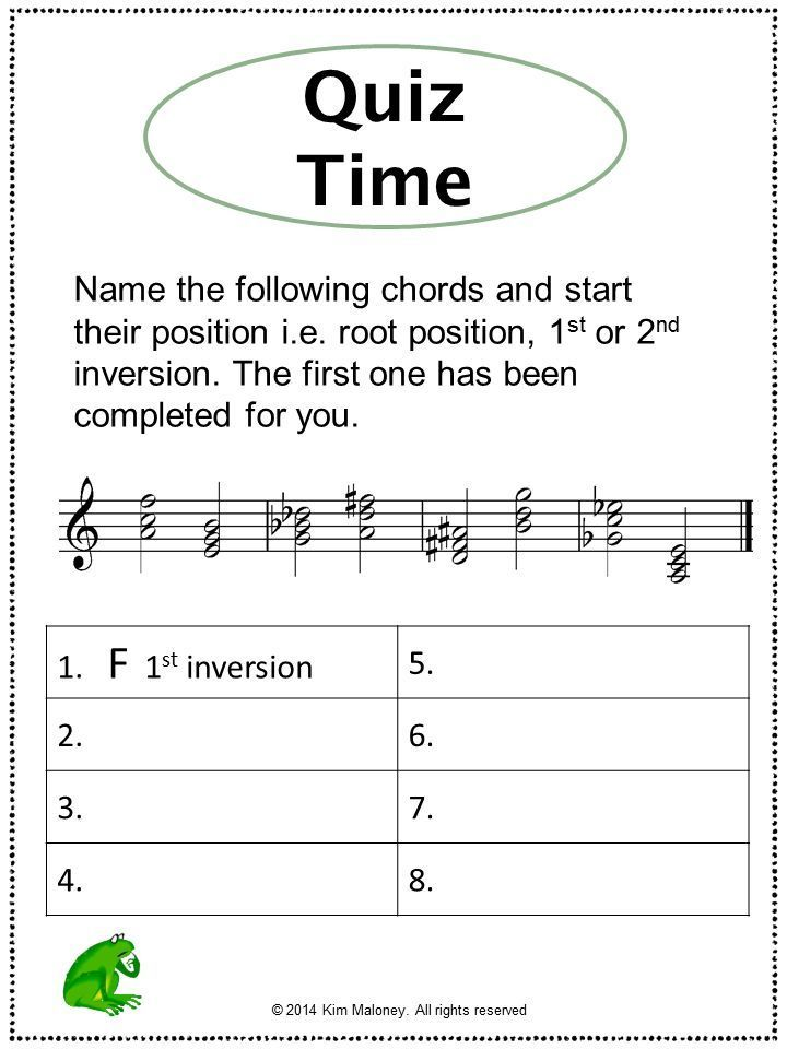 Printable Worksheets grade 1 theory worksheets : Music Theory: Chords and Inversions Explained: Music Worksheets ...