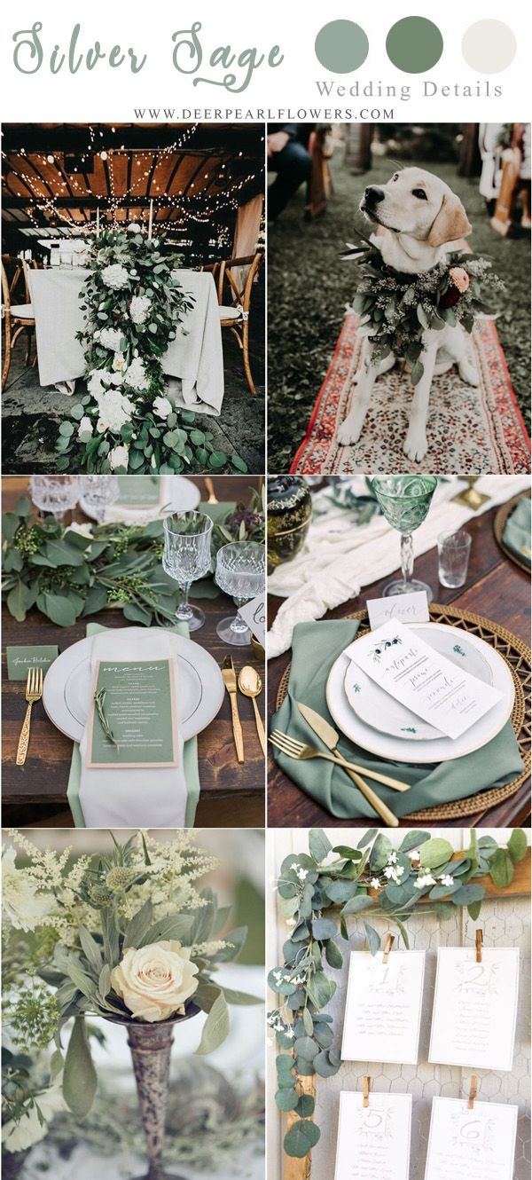 silver sage green wedding color ideas #weddings explore Pinterest