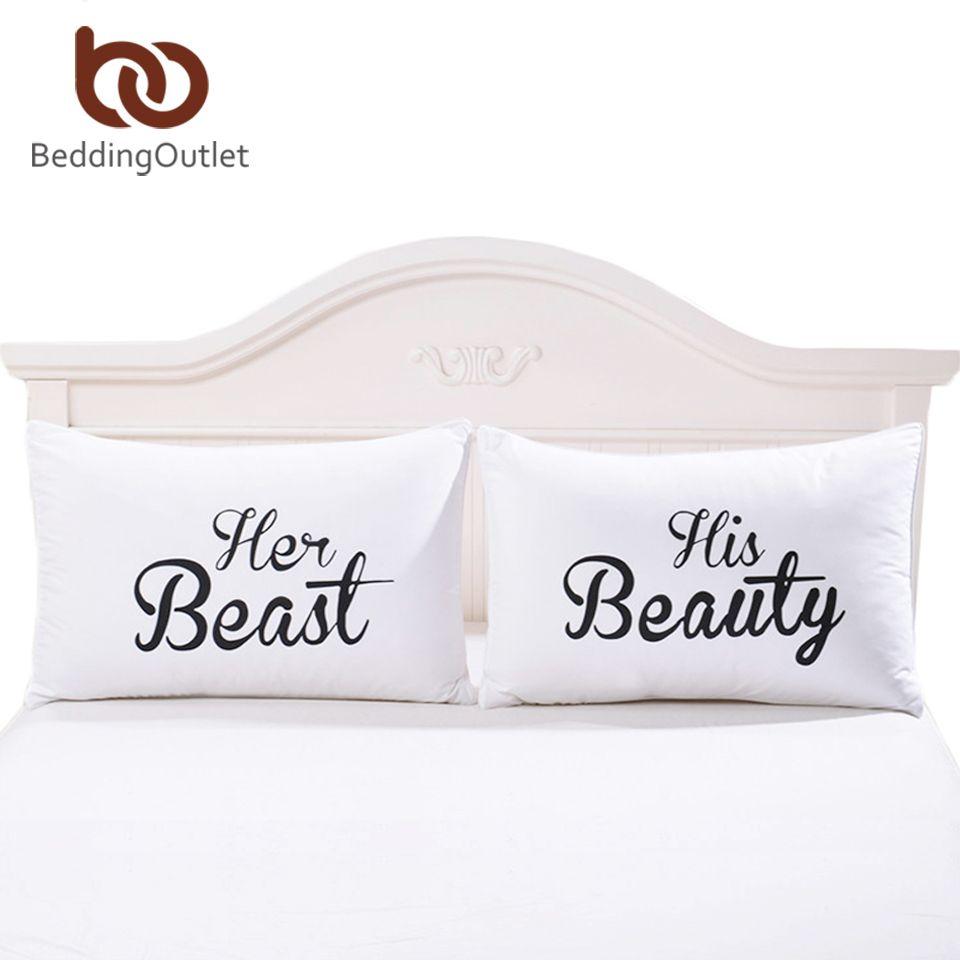Beddingoutlet Dekorative Kissenbezug Beast Und Schönheit Bettwäsche Valentinstag  Geschenke Für Ihn Oder Sie Kissenbezug Ein Paar