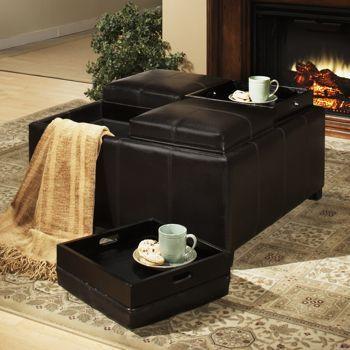 Dayton 4 Tray Top Bonded Leather Storage Ottoman // Next Furniture Purchase