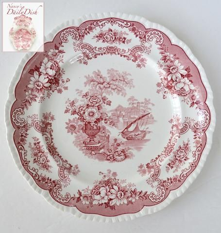 Shabby Chic decor 3 Available Red Transfer Ware Staffordshire Ceramic Bath Cup Vintage Royal Crownford England